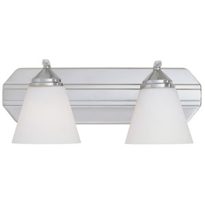 Piazza Satin Platinum Two-Light Bath Fixture with Frosted White Glass