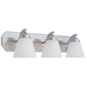 Piazza Satin Platinum Three-Light Bath Fixture with Frosted White Glass
