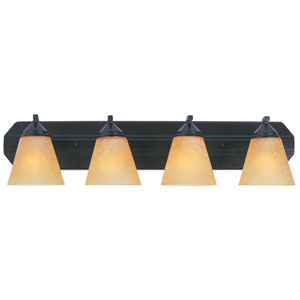 Piazza Oil Rubbed Bronze Four-Light Bath Fixture with Goldenrod Glass