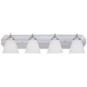 Piazza Satin Platinum Four-Light Bath Fixture with Frosted White Glass