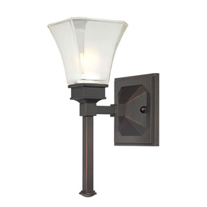 Canterbury Biscayne Bronze One-Light Bath Fixture with Satin Etched Glass