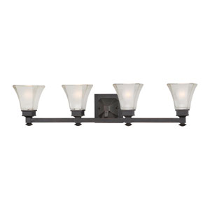 Canterbury Biscayne Bronze Four-Light Bath Fixture with Satin Etched Glass