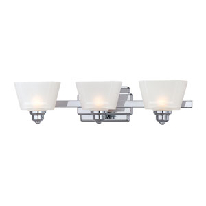 Metropolis Chrome Three-Light Bath Fixture with Frosted Glass
