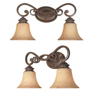 Mendocino Forged Sienna Two-Light Bath Fixture