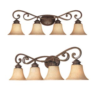 Mendocino Forged Sienna Four-Light Bath Fixture