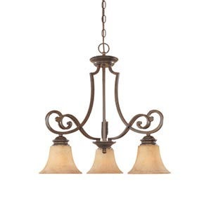 Mendocino Forged Sienna Three-Light Chandelier