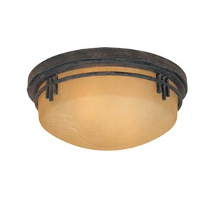 Mission Ridge Warm Mahogany Two-Light Flush Mount