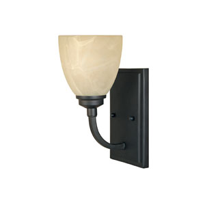 Tackwood Burnished Bronze One-Light Wall Sconce with Tea Stained Alabaster Glass