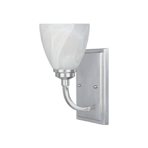 Tackwood Satin Platinum One-Light Wall Sconce with Alabaster Glass