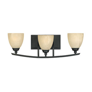Tackwood Burnished Bronze Three-Light Bath Fixture with Tea Stained Alabaster Glass