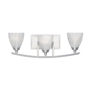 Tackwood Satin Platinum Three-Light Bath Fixture with Alabaster Glass