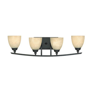 Tackwood Burnished Bronze Four-Light Bath Fixture with Tea Stained Alabaster Glass