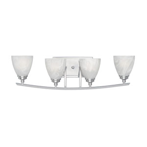 Tackwood Satin Platinum Four-Light Bath Fixture with Alabaster Glass