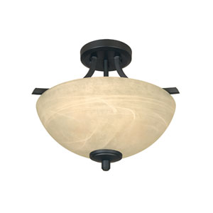 Tackwood Burnished Bronze Two-Light Semi Flush Mount with Tea Stained Alabaster Glass