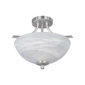 Tackwood Satin Platinum Two-Light Semi Flush Mount with Alabaster Glass