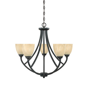Tackwood Burnished Bronze Five-Light Chandelier with Tea Stained Alabaster Glass