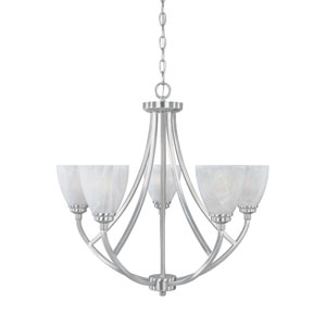 Tackwood Satin Platinum Five-Light Chandelier with Alabaster Glass