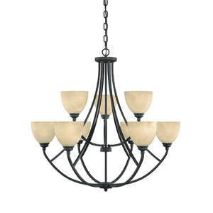 Tackwood Burnished Bronze Nine-Light Chandelier with Tea Stained Alabaster Glass