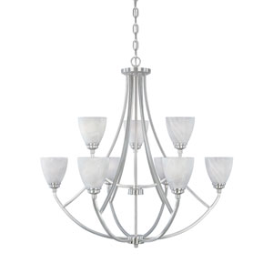 Tackwood Satin Platinum Nine-Light Chandelier with Alabaster Glass