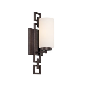 Del Ray Flemish Bronze One-Light Bath Fixture with White Opal Glass