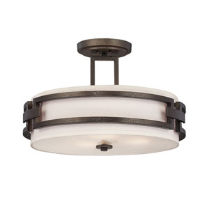 Del Ray Flemish Bronze Three-Light Semi Flush Mount with White Fabric