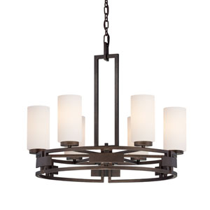 Del Ray Flemish Bronze Six-Light Chandelier with White Opal Glass