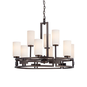 Del Ray Flemish Bronze Nine-Light Chandelier with White Opal Glass