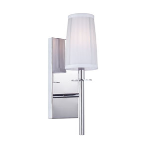 Candence Polished Chrome One-Light Bath Fixture with Silver Organza Fabric