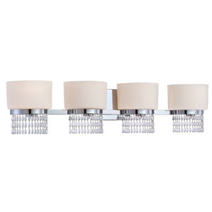Candence Polished Chrome Four-Light Bath Fixture with White Opal Glass