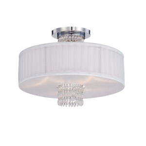 Candence Polished Chrome Three-Light Semi Flush Mount with Silver Organza Fabric