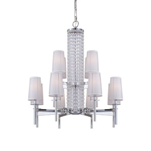 Candence Polished Chrome Twelve-Light Chandelier with Silver Organza Fabric
