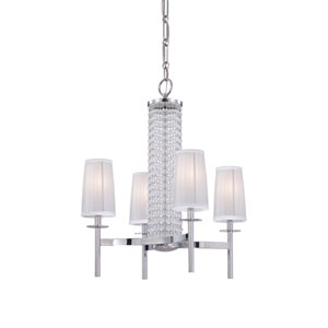 Candence Polished Chrome Four-Light Chandelier with Silver Organza Fabric