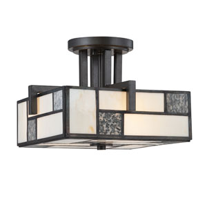 Bradley Charcoal Three-Light Semi Flush Mount with Art Glass