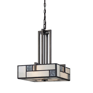 Bradley Charcoal Three-Light Pendant with Art Glass