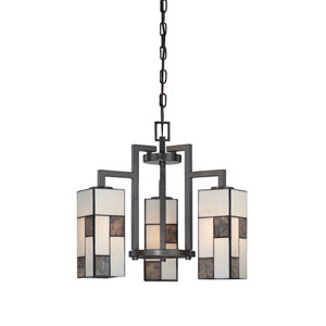 Bradley Charcoal Three-Light Chandelier with Art Glass