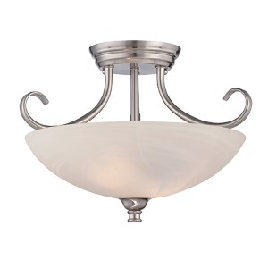 Kendall Satin Platinum Two-Light Semi-Flush