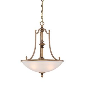 Isla Aged Brass Three-Light Bowl Pendant