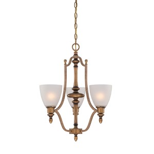 Isla Aged Brass Three-Light Chandelier