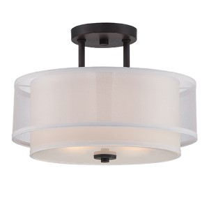 Fusion Biscayne Bronze Two-Light Semi-Flush