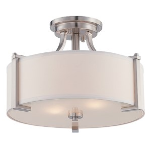 Axel Satin Platinum Two-Light Semi-Flush
