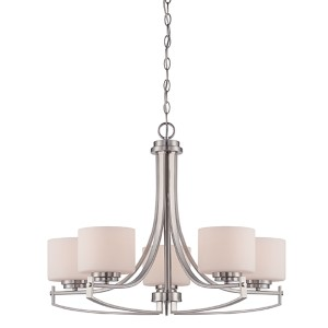Axel Satin Platinum Five-Light Chandelier