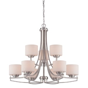 Axel Satin Platinum Nine-Light Chandelier