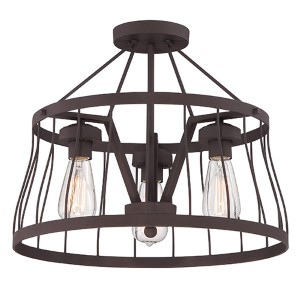Brooklyn Bronze Three-Light Semi-Flush