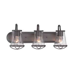 Darby Weathered Iron Three-Light Bath Bar