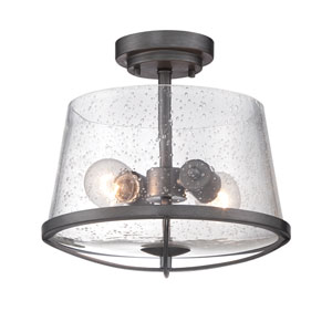 Darby Weathered Iron Two-Light Semi-Flush Mount