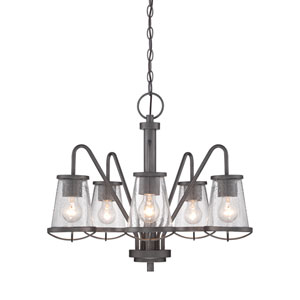 Darby Weathered Iron Five-Light Chandelier