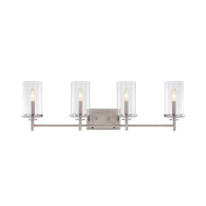 Harlowe Satin Platinum Four-Light Bath Bar