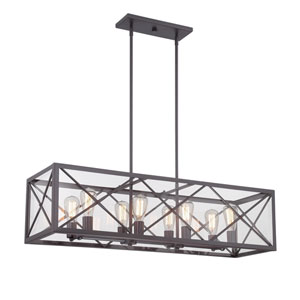 High Line Satin Bronze Eight-Light Linear Chandelier