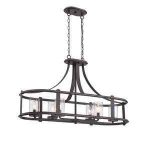Palencia Artisan Pardo Wash Six-Light Linear Chandelier