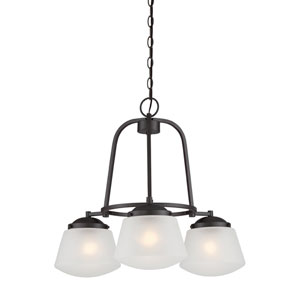 Mason Satin Bronze Three-Light Chandelier